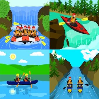 Rafting illustratie set. vlakke afbeelding van raften