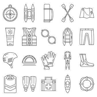 Rafting pictogramserie. overzichtset van rafting vector iconen