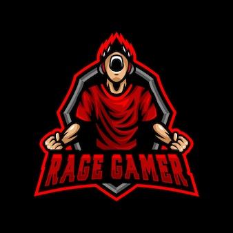 Rage gamer mascotte logo esport gaming