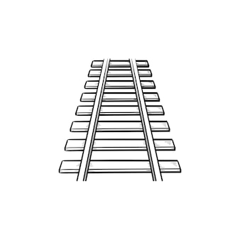 Rails hand getrokken schets doodle pictogram. spoorweg-, spoorweg- en treinvervoer, stalen rails concept. schets vectorillustratie voor print, web, mobiel en infographics op witte achtergrond.