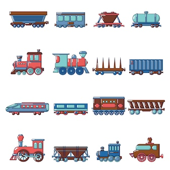 Railway carriage icons set