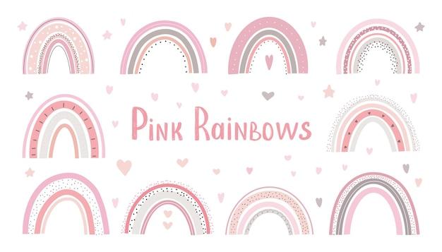Rainbow cute vector pastel set op witte achtergrond afdrukbare poster voor kinderen.