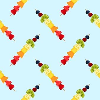 Rainbow fruit skewers clean food crush of summer