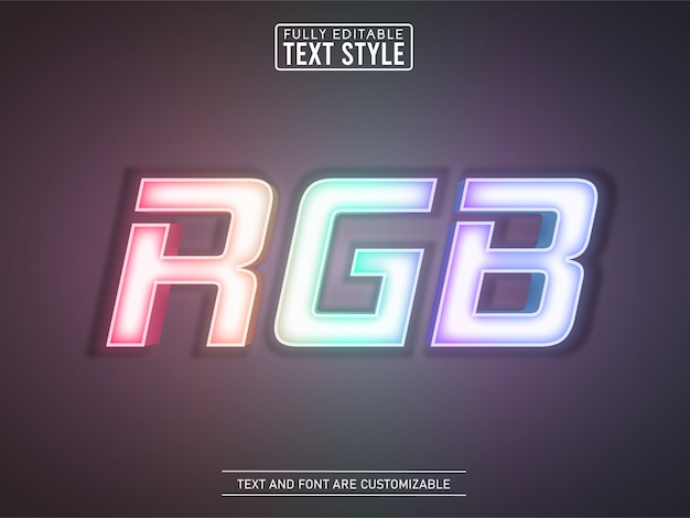Rainbow gaming rgb neon glowing light text effect