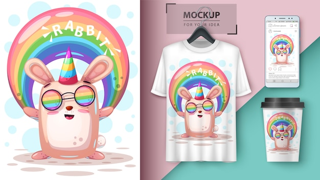 Rainbow rabbit unicorn and merchandising