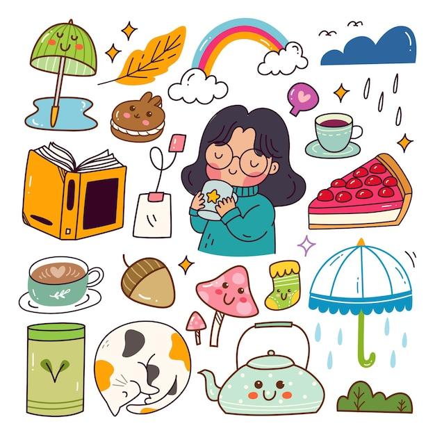 Rainy day relax kawaii doodle set