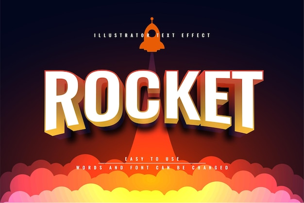 Raket 3d teksteffect ontwerp