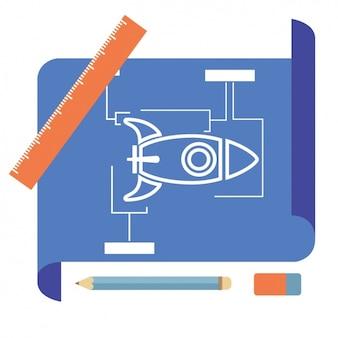Raket blauwdruk ontwerp