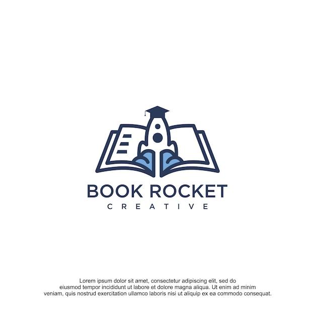 Raket boek ontwerp vector sjabloon