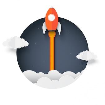 Raket buiten de doos. space shuttle lancering naar de hemel uitgestoten uit de cirkel. opstarten bedrijfsconcept. creatief. icon raket. vector illustratie papier kunst.