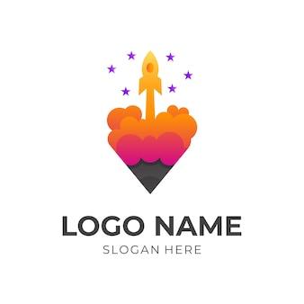 Raket creatief logo, potlood en raket, combinatielogo met 3d-oranje en paarse kleurstijl