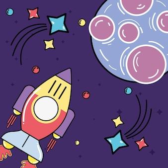 Raket die aan planeet met sterren in de melkweg bezoekt