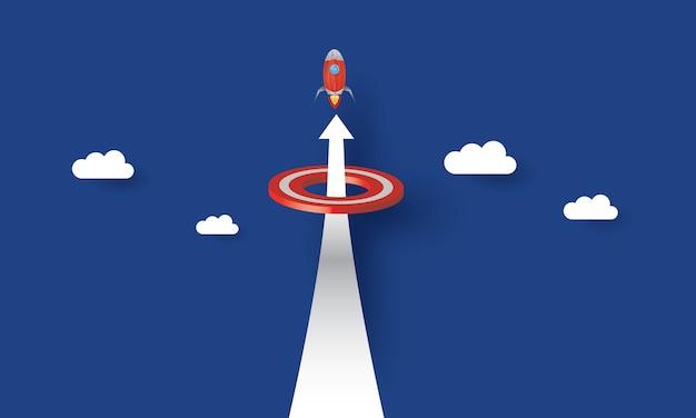 Raket die door een doel vliegt, bedrijfsconcept