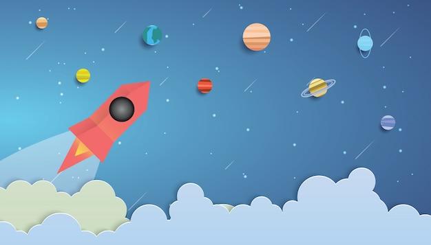 Raket die in ruimte vliegt