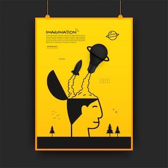 Raket en gloeilamp lancering uit menselijk hoofd, verbeelding concept poster