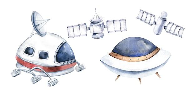 Raket en shuttle geïsoleerde aquarel ruimteschip illustratie op witte achtergrond