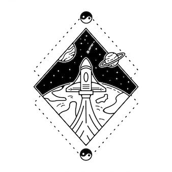 Raket in de ruimte monoline vintage design