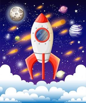 Raket in de ruimte. ruimteschip hoger dan wolken. meteorenregen, sterren, maan en planeten op achtergrond. illustratie in cartoon-stijl. website-pagina en mobiele app