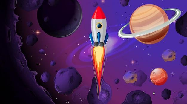 Raket in de ruimte