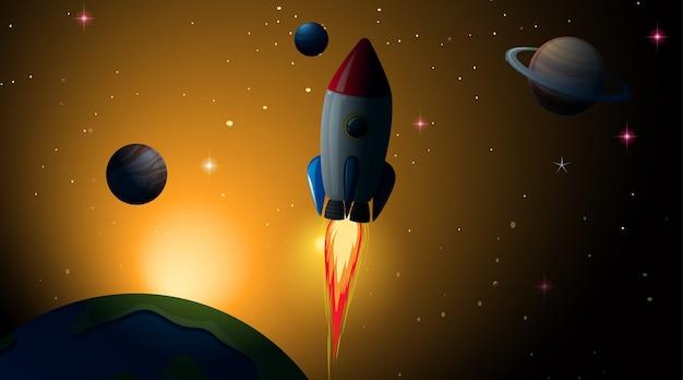 Raket in ruimtescène
