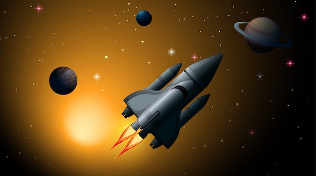 Raket in scène van het zonnestelsel
