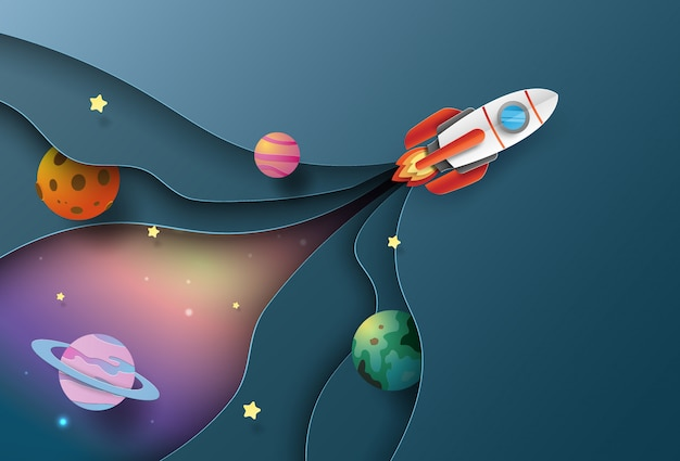 Raket lancering naar de ruimte met een laag van achtergrond