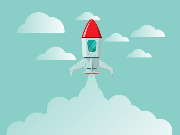 Raket lancering nieuw bedrijfsconcept opstarten
