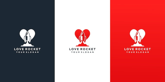 Raket liefde logo ontwerpsjabloon