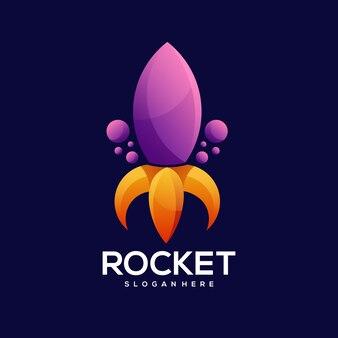 Raket logo kleurrijke gradiënt illustratie