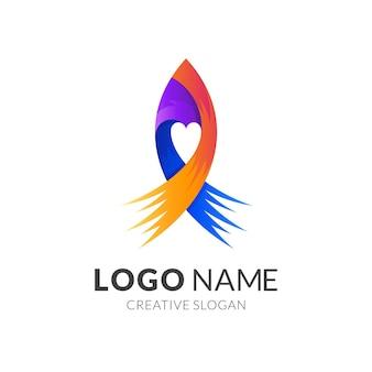 Raket logo met liefde ontwerp illustratie, 3d kleurrijke logo sjabloon, swoosh