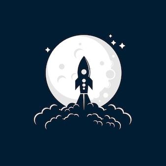 Raket maan lancering illustratie logo