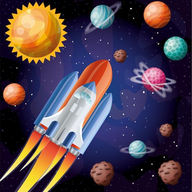 Raket met vlam en planeten