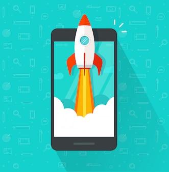 Raket of raket lanceren of opstarten op mobiele telefoon of mobiel