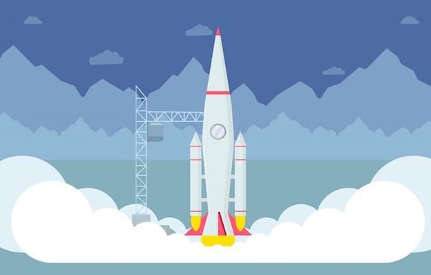 Raket opstijgen platte vectorillustratie