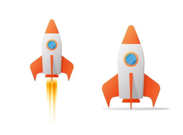 Raket raket schip vliegen en staande clipart set platte cartoon