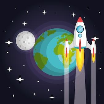 Raket ruimteschip planeet aarde naar de maan