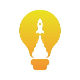 Raket schiet in light bulb-ideeën