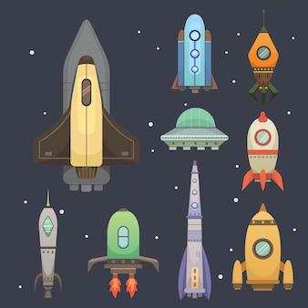 Raket schip in cartoon stijl illustraties set.
