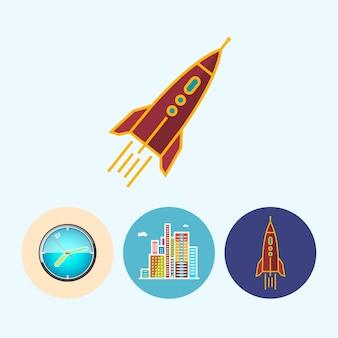 Raket. set met 3 ronde kleurrijke pictogrammen, wandklok, gekleurd horloge, moderne gebouwen, zakencentrum, raket, vectorillustratie