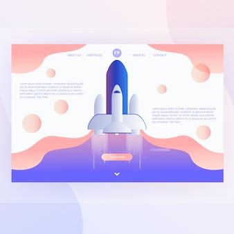 Raket vector web concept met ruimteschip