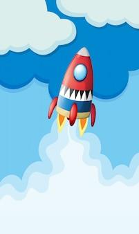 Raket vliegen in de lucht