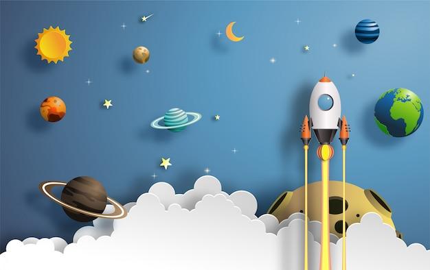 Raket vliegen in de ruimte