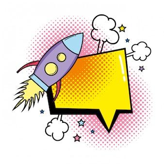 Raket vliegen met pop-artstijl van de toespraakbel
