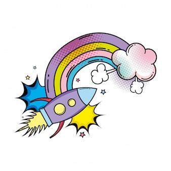 Raket vliegen met regenboog pop-art stijl