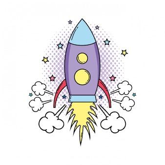 Raket vliegende pop-art stijl