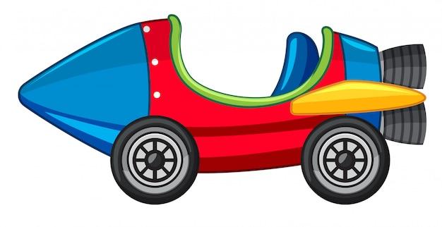 Raketauto in rode en blauwe kleur