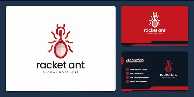 Raketcombinatie met ant monoline logo-ontwerp en visitekaartje