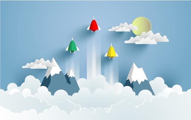 Raketillustraties vliegen over wolken in de winter. ontwerp papierkunst en ambachten