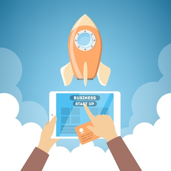 Raketlancering als metafoor voor opstarten. bedrijfs ontwikkelingsconcept. hand duwen knop op tabletcomputer. flat vector illustratie