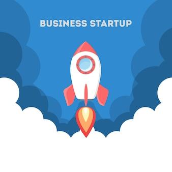 Raketlancering als metafoor voor opstarten. bedrijfs ontwikkelingsconcept. ondernemerschap concept. flat vector illustratie